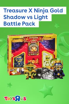 Use a double-bladed Power Sword to dig, slash and chop through the Treasure X Ninja Gold Shadow vs Light Battle Pack and find two Treasure Hunters, six weapons and treasure! The set transforms into a dojo they can use to display their figures or act as a great background for epic battles.