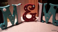 """Wooden standing initials of the letter """"M"""" and the symbol """"&"""" Freestanding Wooden Letters, M Craft, Paper Shopping Bag, Initials, Projects To Try, Symbols, Lettering, Handmade, Home Decor"""