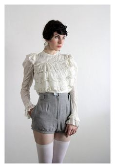 Antique Victorian Blouse . 1800s . Ruffle Top . Shirt by VeraVague, $215.00