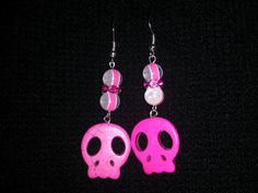Pink Skull Earrings by NocturnalFashions on Etsy, $7.00