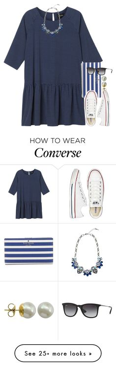 """blues"" by econgdon on Polyvore featuring Monki, Kate Spade, Converse, Majorica and Ray-Ban"