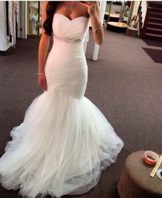 Cheap bridal gown, Buy Quality mermaid wedding dresses directly from China wedding dress Suppliers: 2017 Elegant Mermaid Wedding Dresses Vestidos Bridal Gowns With Sash Crystals Sleeveless Wedding Gowns Custom Made Tulle Wedding, Dream Wedding Dresses, Chic Wedding, Ruched Wedding Dress, Backless Wedding, Ivory Wedding, Wedding Goals, Wedding Attire, Mori Lee Dresses