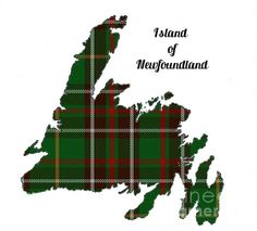 Newfoundland Map Outline With Tartan Inset by Barbara Griffin. The island of Newfoundland, Canada, with the provincial tartan plaid displayed in the outline.