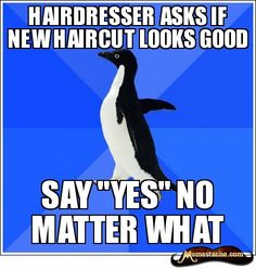 socially akward penguin. I so do this..then go home and complain about how bad the cut is lol