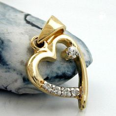 Anhänger, Herz mit Zirkonias, 9Kt GOLD accessorize24-431188