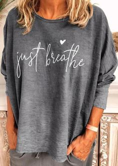 Letter Casual Long Sleeve Cotton-Blend Shirts & Tops - Teen Shirts - Ideas of Teen Shirts - Plus Size Casual, Casual Tops, Casual Shirts, Simple Shirts, Plus Size Tops, Home T Shirts, Tee Shirts, Linen Shirts, Collar Shirts