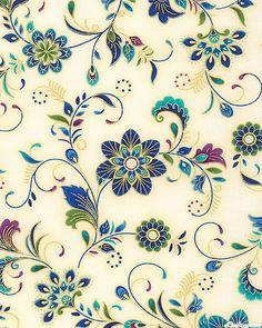 Dynasty - Gemstone Flowers - Ivory/Gold