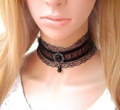 Romantic Black Lace Choker Necklace Collar by FairybyFoxie on Etsy