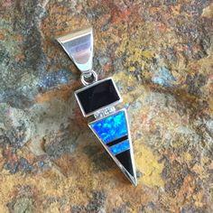 David Rosales Black Beauty Inlaid Sterling Silver Pendant