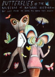 "Illustrated Missed Connections by Sophie Blackall. ""Butterflies at the Museum"". $45.00, via Etsy. #wishlist"