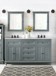 A double vanity makes the master bathroom way better. Double sinks, double storage, double mirrors above. No need to forgo all of your personal space; try a double bath vanity that gives you the room you need and looks pretty too. Available at Home Decorators Collection.