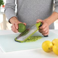 Joseph Joseph - Twist Grater™ #Grater - With the handle locked in the straight position, it's ideal for grating directly over plates and dishes. But when you twist and lock the handle 90° it creates a naturally sturdy shape for resting on the worktop, providing more support when grating larger quantities of food.