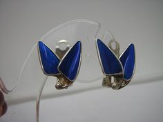 Vintage Sterling Silver & Blue Enamel Clip On Earrings Norway by Einar Modahl