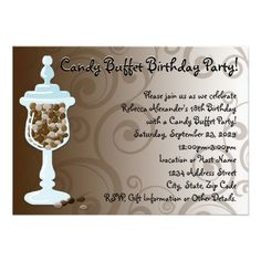 Chocolate Candy Buffet Bar, Urn of Sweets Invitations