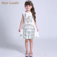 Winter Princess Dresses Children Clothing Birdcage Pattern Design for Kids Clothes Gril Dress