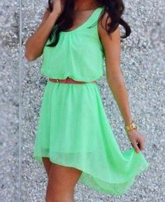 New Beautiful Green Chiffon Hi Low Dress Size Small-Med-Lg or Xl on Chiq $22.49 http://www.chiq.com/new-beautiful-green-chiffon-hi-low-dress-size-small-med-lg-or-xl