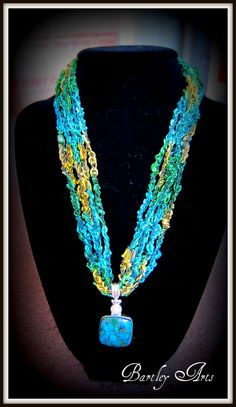 Handmade crocheted trellis yarn necklace with by BartleyArts