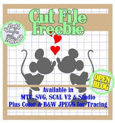 25 Days Valentine Cut Files! Day #02 MTC, SCAL V2, SVG, Silhouette V3, Color PNG, B&W and Color JPEGs