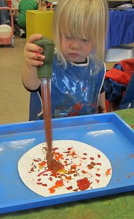 What a fun and messy art table we experienced today. Turkey basters make great splats and sputterings. One handed makes small splats. Refi...