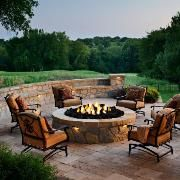 An outdoor living space in Leawood, Kan., features a round fire pit on a paver patio. The fire pit and patio use Belgard's Mega Lafitt pavers and stones, which have the texture and look of cut flagstone. Fire Pit Seating, Fire Pit Area, Fire Pit Backyard, Diy Fire Pit, Seating Areas, Pergola Patio, Backyard Patio, Backyard Landscaping, Gazebo