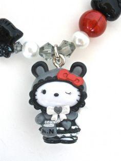 Swarovski Gothic Hello Kitty | Hello Kitty Gothic Lolita Charm Swarovski Stretch by ... | Hello Kitty