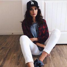 La dodgers hat white pants button up urban fashion swag outfit sneakers Jordan's