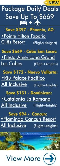 Featured Flight + Hotel Daily Deals: Phoenix, Cabo San Lucas, Nuevo Vallarta, Dominican Republic, Purto Vallarta, Cancun, Shanghai, & Greece | View All 14 New Daily Packages!