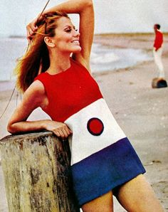 Maud Adams in a mod red white blue mini dress. 60s summer style.
