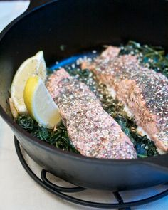 Za'atar Roasted Salmon with Greens #spinach #fallfest