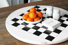 DIY Checkered : DIY Checkerboard Lazy Susan