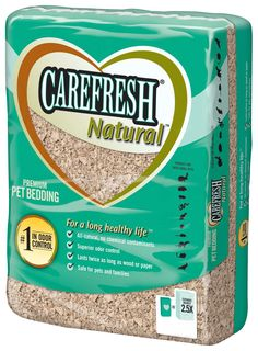 This is Carefresh natural bedding. Carefresh Natural bedding is probably one of the most common types of bedding used. This bedding is 100% natural. This bedding is not the softest, but it is great  for the regular areas in the cage. I don't suggest using this bedding for nesting. This bedding comes in three sizes: 14 liters, 30 liters, and 60 liters. Which runs from $7.99-$21.99. (U.S. dollars) I highly suggest using this bedding.