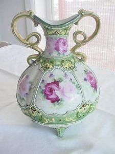 Antique Japanese Nippon Moriage Handled Vase Roses C. 1890 Gorgeous Enamel