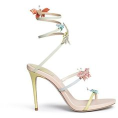 René Caovilla Butterfly appliqué leather spring coil sandals