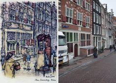 Oudezijds Voorburgwal met het gebouw De Leeuwenburgh, Amsterdam Anton Pieck, Amsterdam Art, Street View, Kunst