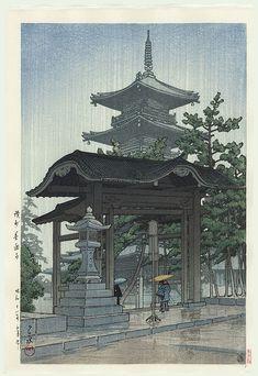 Kawase Hasui détail - Temple de Zentsuji sous la pluie 1937