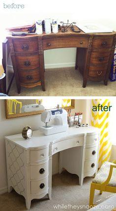 Transformar un escritorio antiguo en un mueble para la máquina de coser