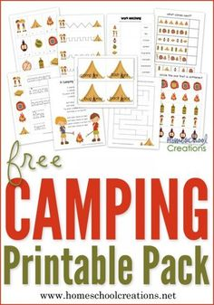 Camping printable pack for preschool and kindergarten - early learning printables with vocabulary words, patterning, first sound identification, and more from Homeschool Creations.