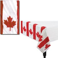 """Set your Canada Day Picnic or barbeque table with this attractive Waving Flag Plastic Tablecover. The Canada Day  Plastic Tablecover is 54"""" x 96""""."""