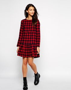 Enlarge Influence Checked Dropped Hem Dress