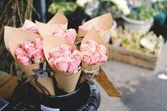 Roses in brown paper.