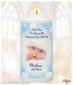 inch Christening Favour: * Each favour comes personalised with baby's name, Thank you message and Date of Christening * Each candle is wrapped and tied with a Ribbon, in a small tulle bag ready for you to give to your guest on your Baby's special day Personalized Bookmarks, Personalized Candles, Christening Favors, Baby Christening, Special Guest, Special Day, Beautiful Verses, Baby Information, Thank You Messages