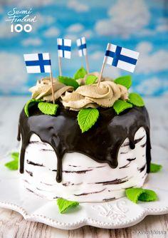 Suomi 100 -kesäkakku Finnish Independence Day, Beautiful Cakes, Amazing Cakes, Finland Food, Finnish Recipes, Flag Cake, Scandinavian Food, Sweet Pastries, Piece Of Cakes