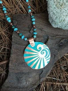 Etched Copper Pendant   Turquoise Blue Czech by EarthArtistry