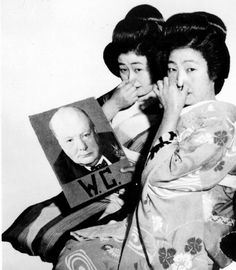 Two Geisha girls showing their distain for British Prime minister Winston Churchill.  The intials W.C stand for Water Closet in Europe and Asia.  1941.