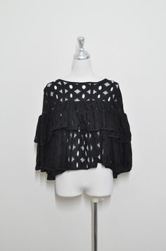vintage women boho black lace blouse, ruffle sleeve & chest line, pre-owned, ladies', free size by VintageStyleShop1 on Etsy