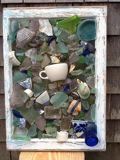 Seaglass window Sea Glass Beach, Sea Glass Art, Sea Glass Jewelry, Mosaic Glass, Sea Glass Crafts, Seashell Crafts, Beach Crafts, Broken Bottle, Broken Glass