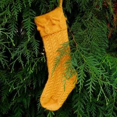 Gold Christmas Garland Stocking wool mohair hand knitted by Mountain Mist Fiberworks https://www.etsy.com/shop/MountainMist