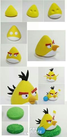 jpg tutoriel tous perso angry birds en fimo (How To Make Cake Figures) Gâteau Angry Birds, Torta Angry Birds, Fondant Animals, Clay Animals, Decors Pate A Sucre, Crea Fimo, Bird Cakes, Bird Party, Fondant Decorations