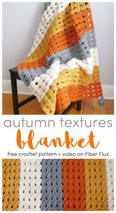 Autumn Textures Blanket, Free Crochet Pattern   Video Series on Fiber Flux