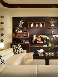 We love how dark brown compliments the geometry of this angular, modern living room. For a similar look we recommend Rail Road Ties KMA67-5. http://www.colorstudiocollection.com/ #Homedecor #Interiordesign